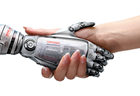 artificial intelligence hand and human hand shaking