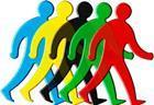 5 coloured walking men