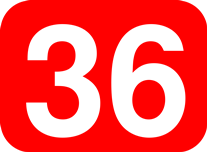 36 white on red background