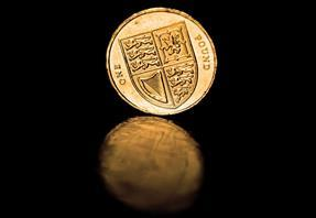 pound coin on dark background