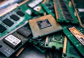 Pile of green computer memory cards
