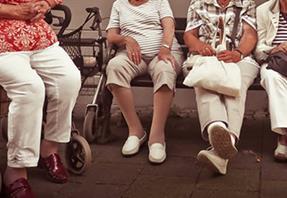 Elderly women seated in row