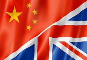 A picture of the union flag and the Chinese flag overlapping