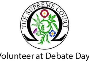 Logo of Supreme Court and call to volunteer for Debate Days