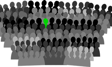 Silhouette figures crowd