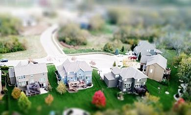 Houses in miniature village model